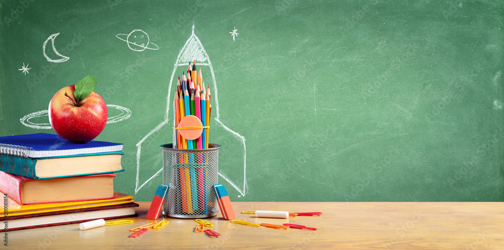 Fototapety, obrazy: Back To School - Books And Pencils With Rocket Sketch