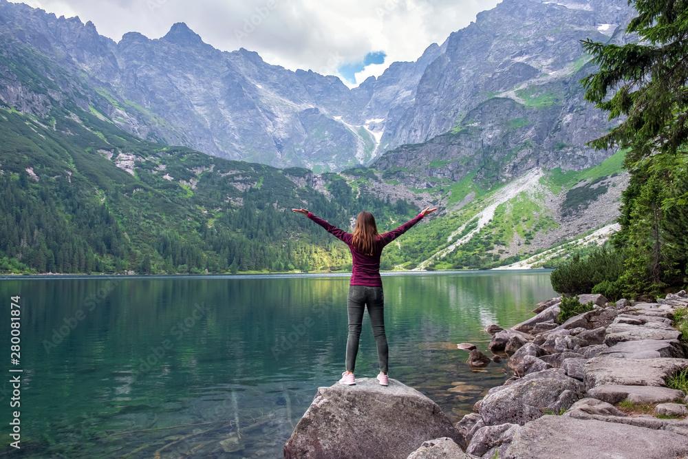 Fototapety, obrazy: Young tourist girl on Lake Morskie Oko (Sea Eye), Zakopane, Poland, High Tatras