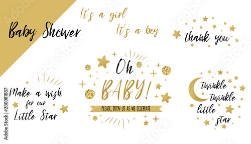 Fototapeta  Baby shower set gold templates Twinkle twinkle little star text Oh baby glitter