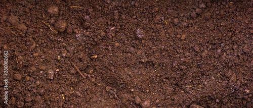 Fertile soil with peat - panoramic background for agriculture Canvas