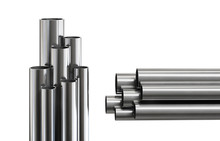 Steel Pipes, Isolated On White...