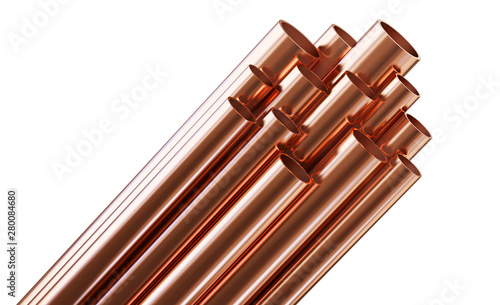 Fotografie, Obraz Copper pipes isolated on white background