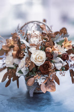 Bouquet Of Autumn Leaves, Roses, Berries In Fall Shades, Autumn Flowers In The Rustic Wicker Basket
