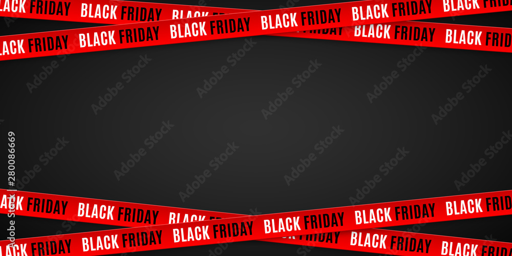 Fototapety, obrazy: Red ribbons for black friday sale on black background. Crossed ribbons. Big sale. Graphic elements. Vector illustration