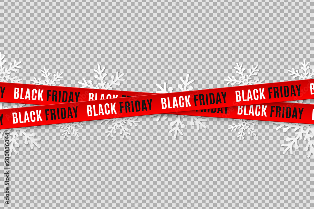 Fototapety, obrazy: Red ribbons for black friday sale isolated on transparent background. Crossed ribbons. Snowflakes. Graphic elements. Vector illustration