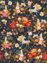 Seamless Pattern With Fairy Unicorns And Fabulous Birds In The Blooming Garden At Night. Print For Fabric, Wallpaper.