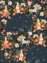 Seamless Pattern With Fairy Unicorns In The Summer Forest. Starry Night. Print For Fabric, Wallpaper.