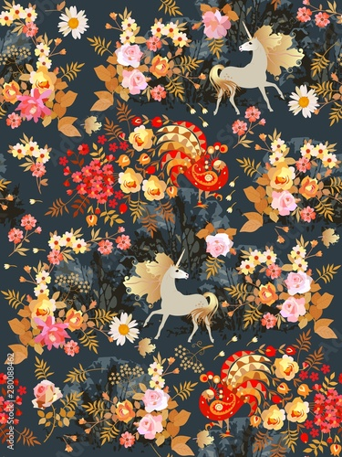 Valokuva Seamless pattern with fairy unicorns and fabulous birds in the blooming garden at night