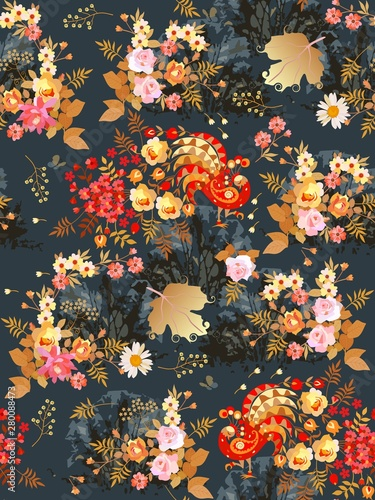 Fototapeta Seamless pattern with fabulous birds in the blooming garden at night