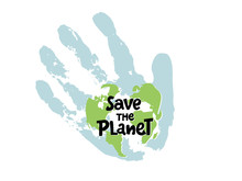 Save The Planet, Protect Our Planet, Eco Ecology, Climate Changes, Earth Day April 22, Planet With Hand Palm And Typing Vector Emblem Or Illustration Isolated Over White Background