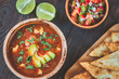 Bowl of spicy Mexican soup