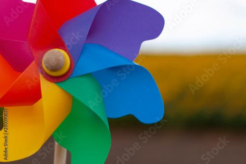color pinwheel toy against summer sky. Canvas-taulu