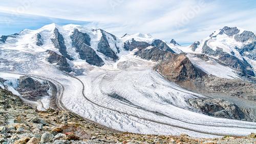 View for Morteratsch Glacier and panorama of Piz Berinia and Piz Palu in Switzerland Wallpaper Mural