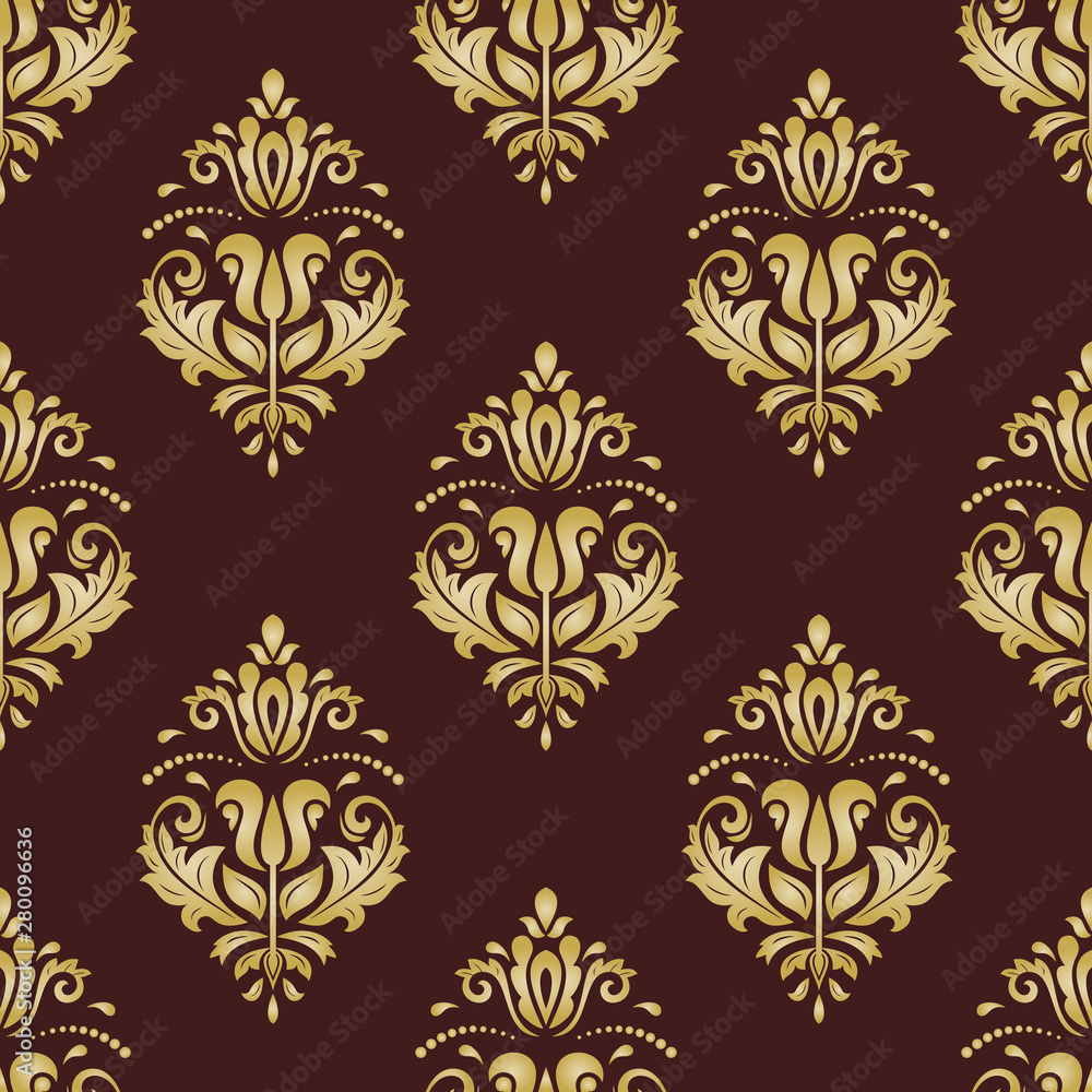 Orient classic brown and golden pattern. Seamless abstract background with vintage elements. Orient background