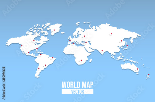Obraz na plátně World map empty template with red location pin