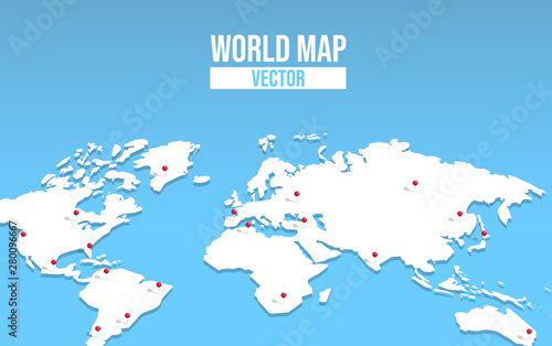 Fototapeta  World map empty template with red location pin