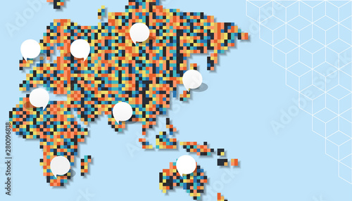 Fototapeta Colorful europe and asia pixel map template