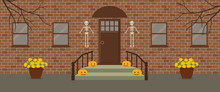 Porch, Decorated For Halloween. Front Porch Halloween Decorations. There Are Skeletons, Pumpkins And Pots Of Chrysanthemums On A Brick Facade Background. Vector Illustration