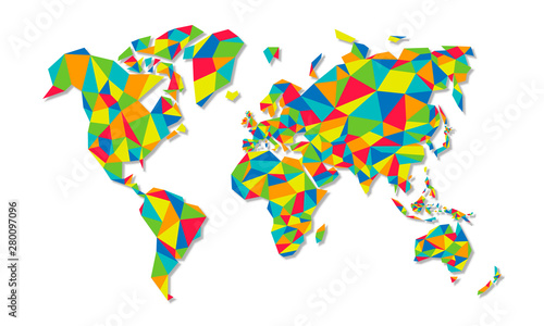 Fototapeta  Colorful low poly world map geometric concept