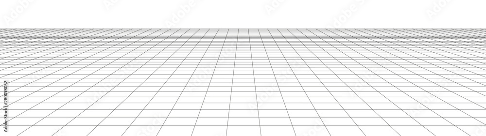 Fototapeta Vector perspective grid. Detailed lines on white background. Widescreen illustration.