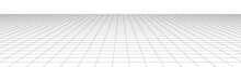 Vector Perspective Grid. Detailed Lines On White Background. Widescreen Illustration.