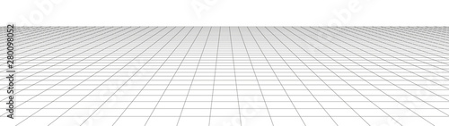 Fototapeta Vector perspective grid. Detailed lines on white background. Widescreen illustration. obraz