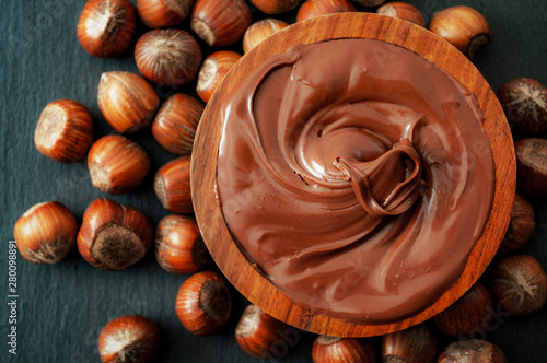 Breakfast food, classic dessert and rustic sweets concept theme with a brown woo Wallpaper Mural