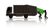 Web Icons Of People. Worker Loads An Old Sofa In The Garbage Truck