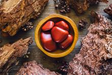 Bowl Of Red Japser In Wood Frame