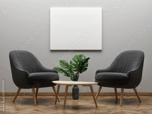 Photographie Two armchairs with mock up poster, minimalism concept, 3d render, 3d illustratio