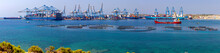 Marsaxlokk. Panoramic View Of The Cargo Port And Port Water Area.