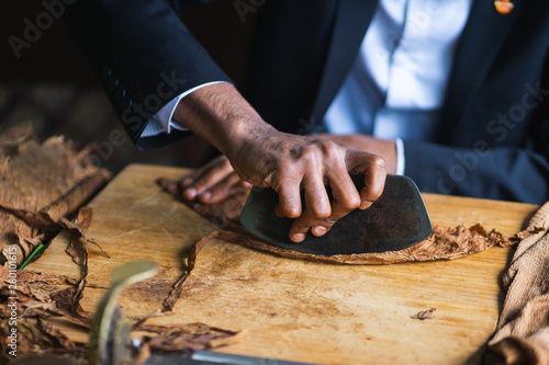 Fotografia  Process of making traditional cigars from tobacco leaves with hands using a mechanical device and press