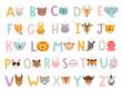 Leinwandbild Motiv Funny Animals alphabet for kids education.