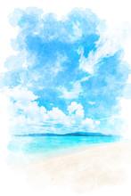 沖縄の海 Beautiful Beach Of Okinawa ,Japan. Illustration Of Watercolor Painting Style.