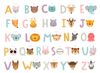 Funny Animals alphabet for kids education.