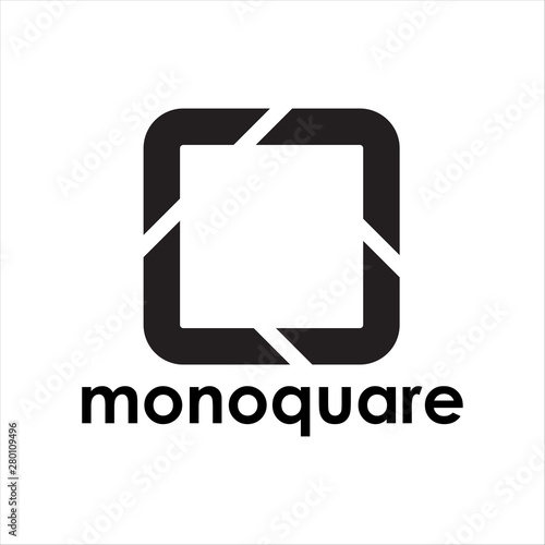 Photo simple monchrome square logo design.