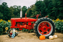 A Red Vintage Old Antique Trac...