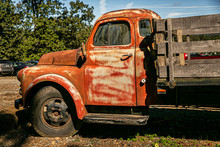 Vintage Old Rusted Pickup Truck With Wooden Back For Farming And Hauling Crops