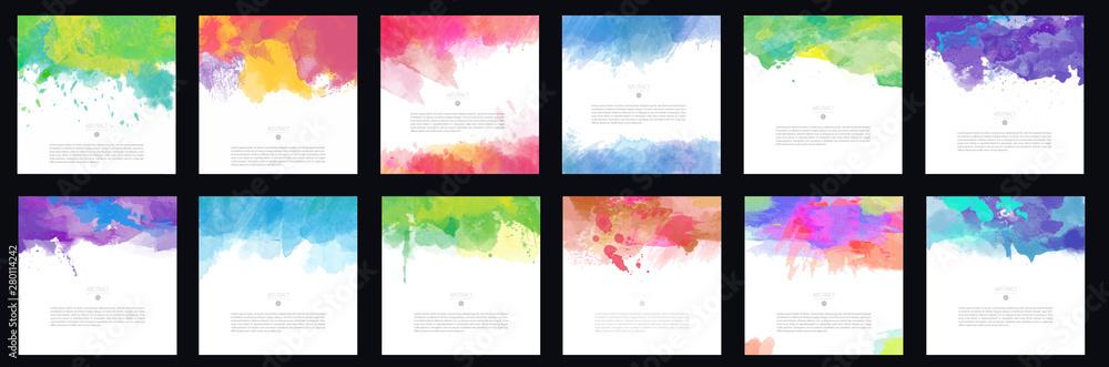 Fototapeta Big set of bright colorful vector watercolor brush background design elements