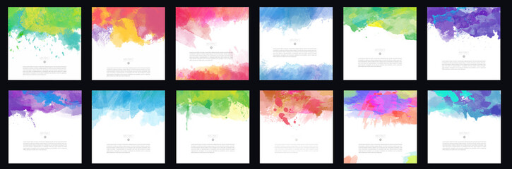 Big set of bright colorful vector watercolor brush background design elements