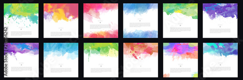 Fototapety, obrazy: Big set of bright colorful vector watercolor brush background design elements