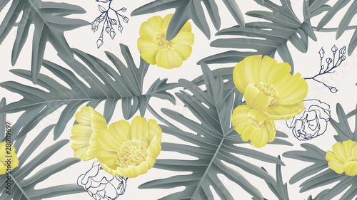 Botanical seamless pattern, creeping buttercup flowers and Philodendron bipinnatifidum on light grey, pastel vintage theme