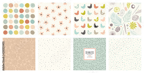 Ingelijste posters Kunstmatig Cute seamless patterns and prints set.