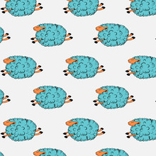 Flying Blue Sheep On A Grey Background. Dancing Sheep. Soaring Sheep. Seamless Pattern With Sheeps. Vector Illustration.