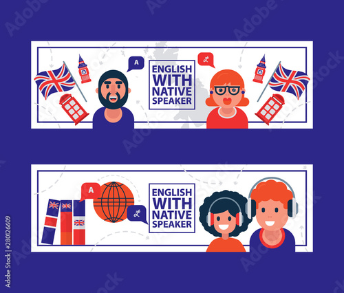English Language Learning With Native Speaker Vector Illustration English Language Education Online With Cartoon Character Teachers Kids And British Flags Buy This Stock Vector And Explore Similar Vectors At Adobe Stock