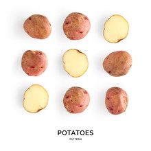 Seamless Pattern With Potatoes. Vegetables Abstract Background. Potatoes On The White Background.