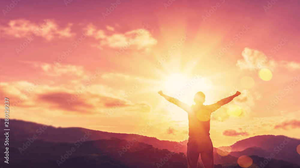 Fototapety, obrazy: Copy space of man rise hand up on top of mountain and sunset sky abstract background.