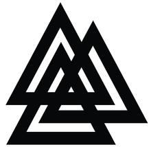 Valknut Symbol Logo Blue Colored