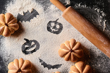 Funny Food For Halloween. Homemade Sweet Cakes In Shape Of Pumpkin On A Dark Background