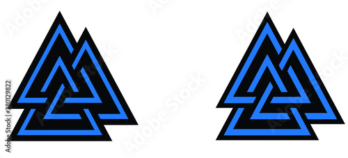 Valknut symbol logo blue colored Wallpaper Mural
